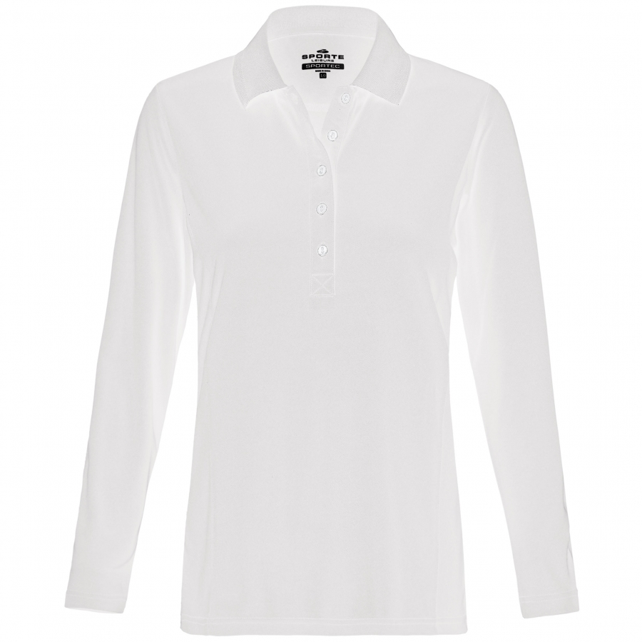 Ladies Aero Long Sleeve white Polo