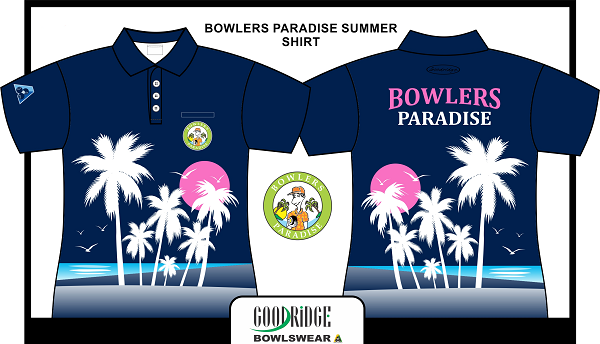 Bowlers Paradise Summer Scene Polo Navy